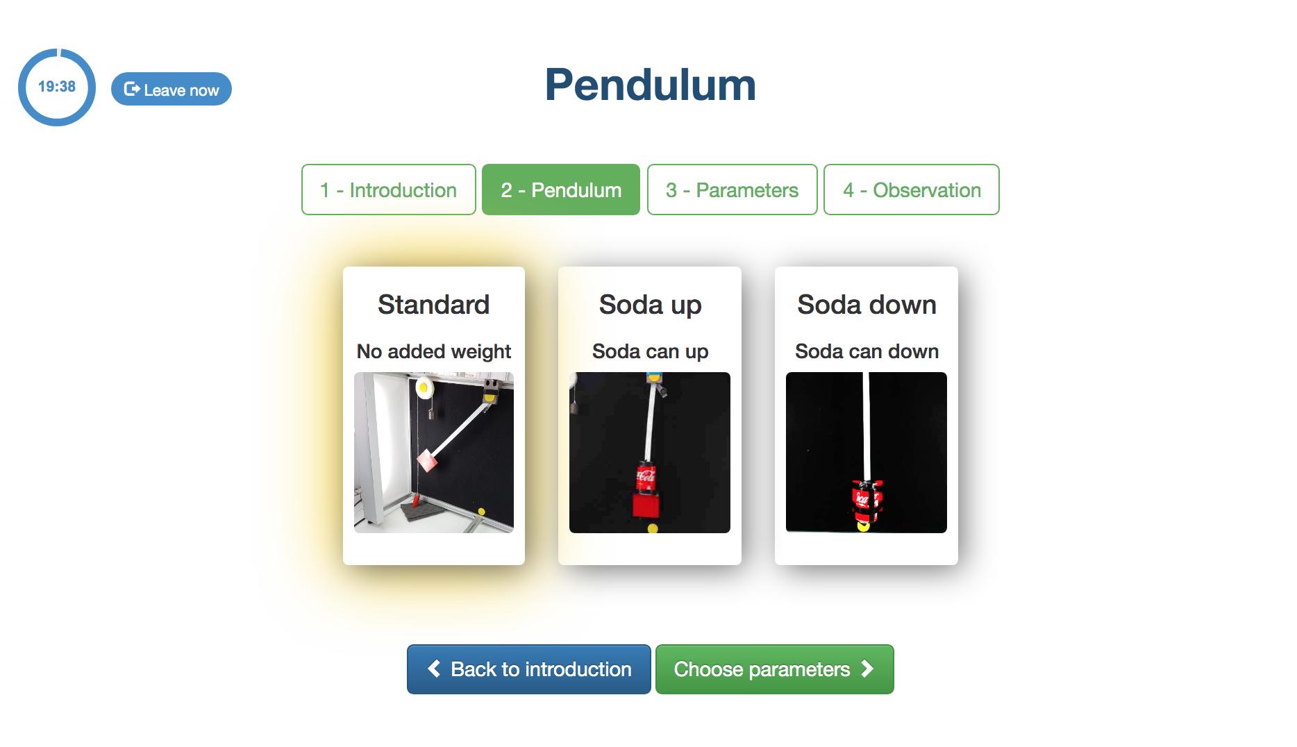 Pendulum selection stage screenshot