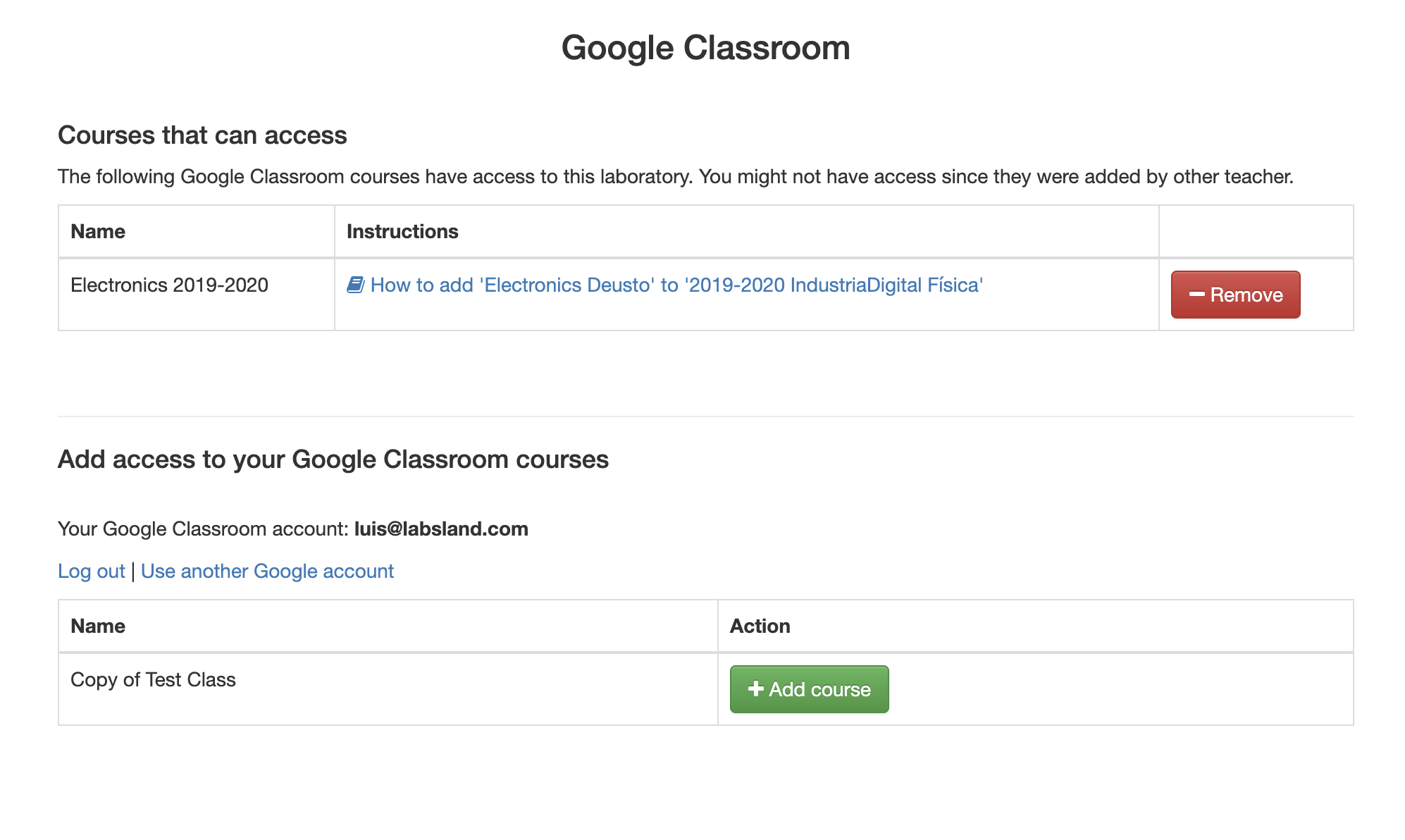 Figure 6. The interface to create Google Classroom links to the labs.