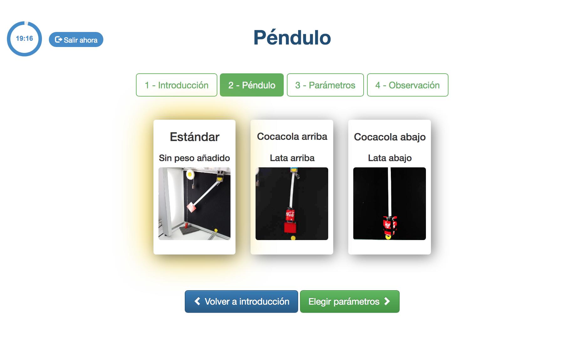 Captura de pantalla de la etapa de selección del péndulo