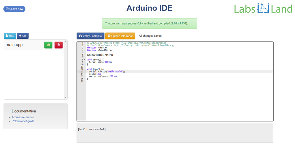 LabsLand - Arduino robot (code)